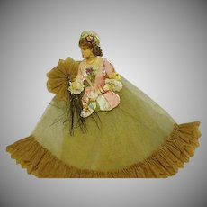 Lady with Fan Crepe Paper and Net