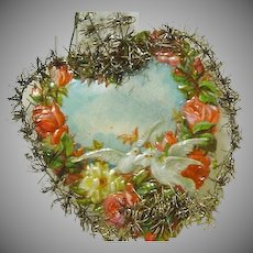 "Victorian Die cut ""Valentine"" Christmas Heart, Roses & Dove"