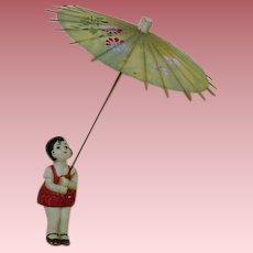 German Bisque Girl with Umbrella