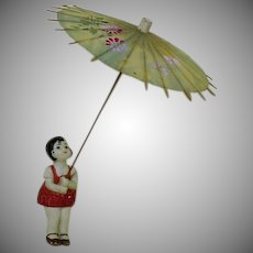 German Bisque Girl with Umbrella