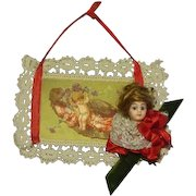 German/French  Glass Eyed Mignonette  Head Christmas Tree Ornament