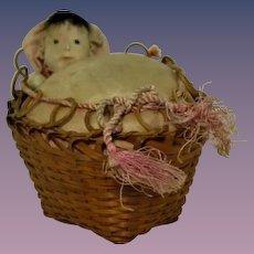 "Vintage Pin Cushion ""Baby in Basket"""