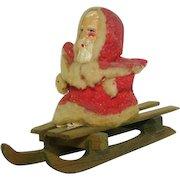 "Antique ""Santa on Wooden Sled"""