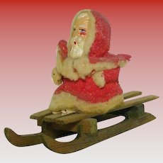 "Antique ""Santa on Wooden Sled"""