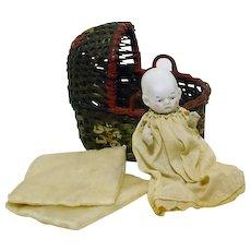 Vintage All Original Japan Bisque Baby & Basket