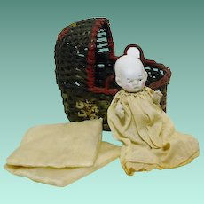Vintage All Original Japan Bisque Baby & Basket