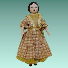 """China Shoulder Head Godey Lady All original 7"""" Cloth Body"""