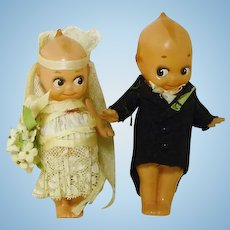 Celluloid Bride & Groom Dolls, Cake Toppers