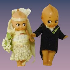 Celluloid Kewpie Bride & Groom Dolls Cake Toppers