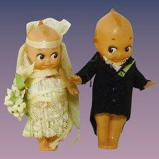 Celluloid Kewpie Bride & Groom Dolls Cake Toppers