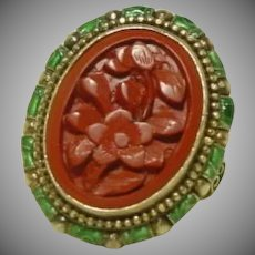Vintage Chinese Carved Flower Cinnabar Ring