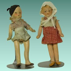 "All Original  4"" composition  Boy & Girl Dolls"