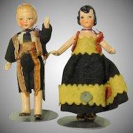 "German Marked 4"" Original Boy and Girl Dolls"