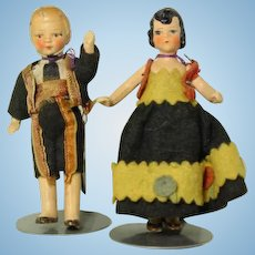 "German Marked 4"" Original Boy and Girl Dolls"