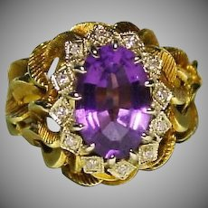 Estate 18K Gold Amethyst with Diamonds Ring