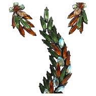 Vintage Signed REGENCY Japanned Rhinestone Leaf Pin Set with Earrings