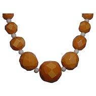 Vintage Cream BAKELITE Beaded Necklace