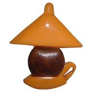 Vintage BAKELITE and Wood Lantern Oil Lamp Pin Brooch