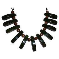 Vintage BAKELITE Mottled Green Swirled Dangle Necklace