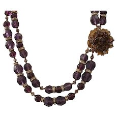 Vintage Phenomenal Signed MIRIAM HASKELL Amethyst Glass Beaded Necklace
