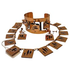 Vintage Copper Parure Necklace Earrings and Cuff Bracelet (Matisse Renoir or Rebajes)