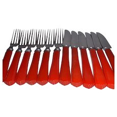 Vintage Signed MERIT Red BAKELITE Stainless Steel Flatware Set 12