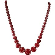 Bakelite Era-Carved Red Galalith Necklace