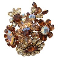Vintage Signed AUSTRIAN Rhinestone Floral Tiered Pin