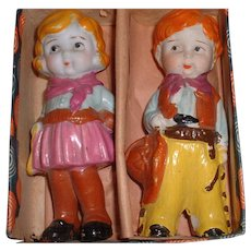Adorable Vintage Ceramic Cowboy / Cowgirl Set in Original Box - MINT