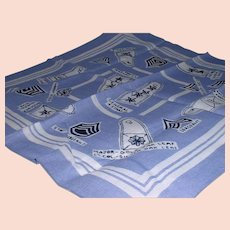 Vintage Army Military Rank Insignias Hankie/Handkerchief