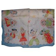 Vintage Children's Colorful Cotton Handkerchief