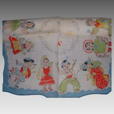 Vintage Children's Colorful Cotton Handkerchief