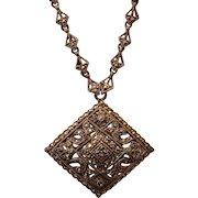 Vintage Marked Sterling Silver Marcasite Necklace Pendant