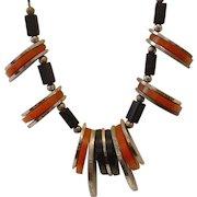 Vintage Jakob Bengel BAKELITE and Chrome Necklace