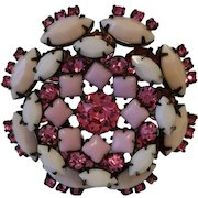 Vintage Unsigned Schreiner Pink Shaded Rhinestone Tiered Brooch Pin