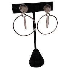 Mid Century Modern Sterling Silver Dangle Hoop Earrings