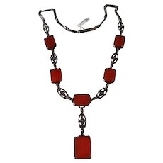 Vintage Sterling Silver Marcasite and Carnelian Necklace
