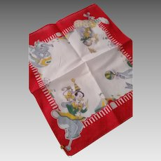 Vintage Child's Traveling CIRCUS Clowns and Animals Handkerchief Hankie