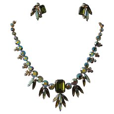 Signed Continental Green Rhinestone Necklace and Earrings Set