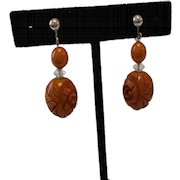 Dangling Caramel Carved BAKELITE Earrings