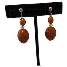 Dangling Caramel Carved BAKELITE Earrings