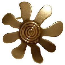 Noted Vintage Designer/Artist ED LEVIN Mid-Century Modern Daisy Pin Sterling and Gold