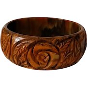 Vintage End of Day Caramel Base Carved BAKELITE Bangle Bracelet