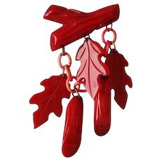 Vintage Dangling Red Oak Leaves and Logs Pin Brooch