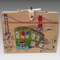 Vintage Enid Collins Cable Car Wooden Box Handbag