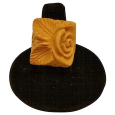 Magnificent Heavily Carved BAKELITE Ring