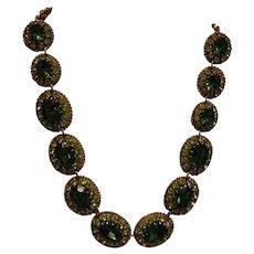 Stunning Vintage Signed Austrian Green Rhinestone Necklace