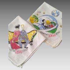 Pair Vintage 1950's Hankies Handkerchiefs - Modern Love Theme