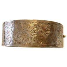Vintage Victorian Era Silver Cuff Bracelet Floral Design