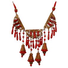 Fabulous Czech Brass Enamel and Red Glass Beads Necklace with Dangles
